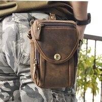 Retro Oil Wax Vintage Genuine Leather Bags Waist Bag Fanny Pack Belt Loops Hip Bum Bag