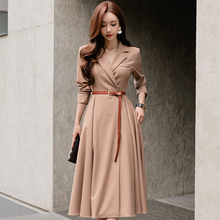 Fashion women temperament dress new arrival high quality full sleeve comfortable transparent warm OL solid color outdoor dress