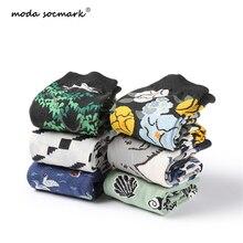 Moda Socmark Harajuku Street Tide Happy Socks Men Cotton Casual Funny For Women Cartoon Swan Elephant Couple
