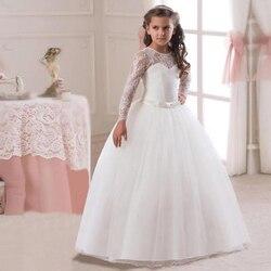 От 5 до 14 лет для девочек длинные белые кружевное платье с цветочным рисунком вечерние бальное платье платья для выпускного вечера для девоч...