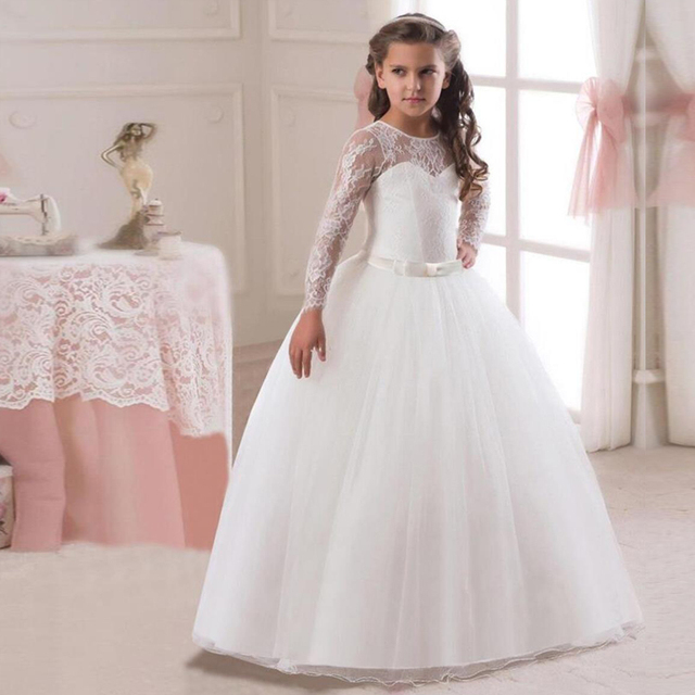 5-14Y Kids Girls Long White Lace Flower Party Ball Gown Prom Dresses Kid Girl Princess Wedding Children First Communion Dress