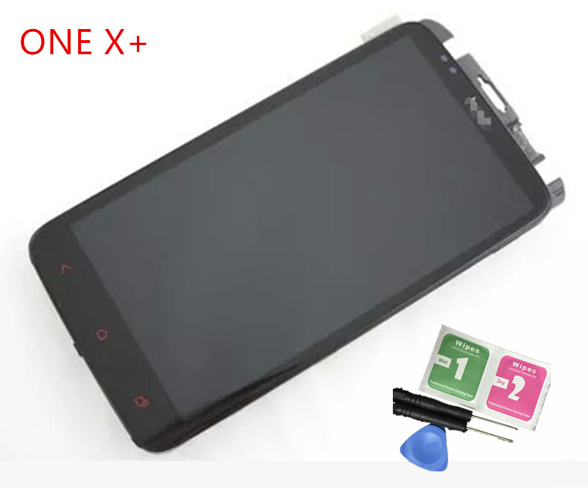 NEW Original  Touch Screen LCD Display Assembly With Frame  For HTC ONE X+ S728E  LCD Black FREE SHIPPING lcd screen display touch panel digitizer with frame for htc one m9 black or silver or gold free shipping