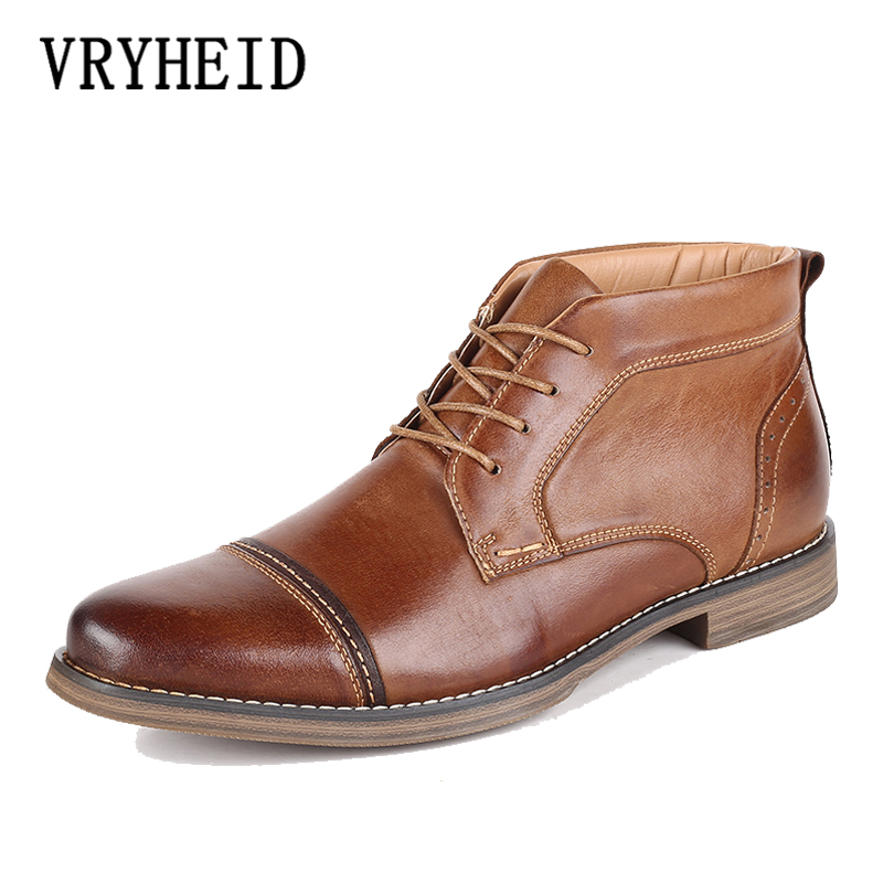 VRYHEID Autumn And Winter Shoes Men Genuine Leather High Boots Men's High Shoes Business Casual Lace-up British Shoe Oxford