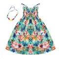 2016 Летние дети одежда девочек Новый 2-11Y детей пляж платья для девочек мода чешского стиль платья бесплатно ожерелье