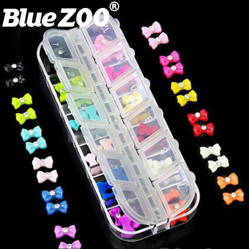 Rhinestone Bow 3D Art Resin Nail Decoration 60PCS Mix Candy Color Cute Bowknot Nails Tip Accessories Phone Decoration 4 6 waterdrop shape 3d nail art sharp bottom glass rhinestone nail tip decoration phone decor accessories 10pc