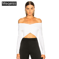 MEQEISS 2019 Sexy Elastic Off Shoulder Bandage Tops Women For Summer White Black Slash Neck Fashion Celebrity Party Tank Tops