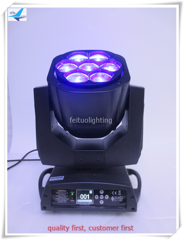 A- 6x 7X15W RGBW 4in1 Zoom Wash Beam LED Bee Eyes Moving Head lights stage