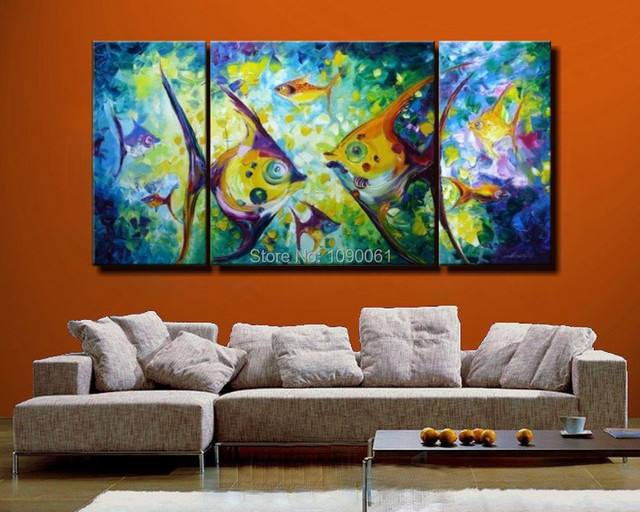 Astratta pittura a olio di paesaggi marini pesci tropicali dipinto a ...