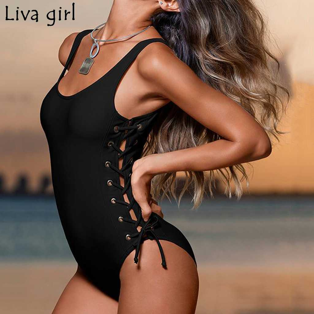 Liva girl black bandage Women One-Piece Suits 2019 New Padded Swimsuit Monokini Swimwear Women Bathing Suit Swimming Beach Wear