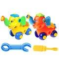 Diy elefante desmontagem projeto do carro bloco de construção educacional montado brinquedo do jardim de infância com ferramenta de fixação e chave de fenda