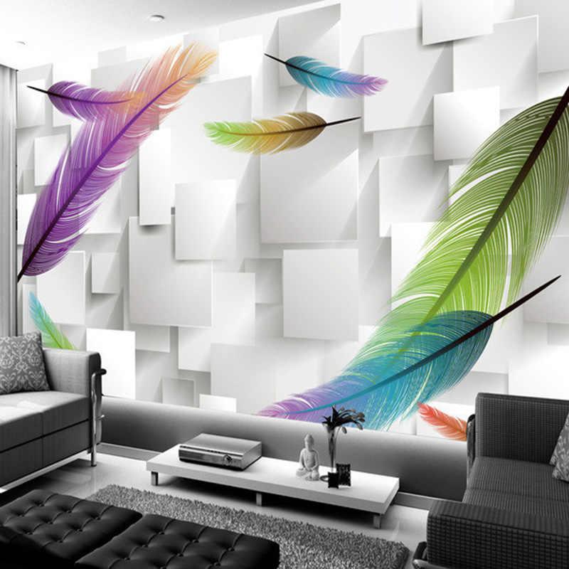 Pena de moda Simples 3D Fundo Pintura Mural Da Parede Moderna Sala de estar Restaurante Estudo Decoração de Interiores Papel De Parede Papel De Parede 3D