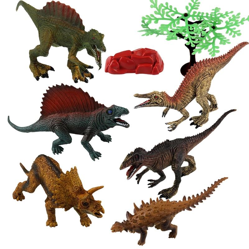 T-REX 6 pièces/ensemble PVC dinosaure modèle jouets en plastique jurassique monde Spinosaurus Suchomimus Dimetrodon petite figurine