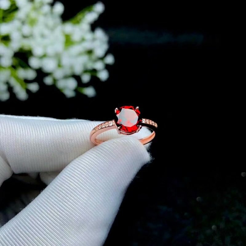 SHILOVEM 925 silver natural garnet rings open classic wholesale Fine women wedding gift new party 7*7mm bj070709ags