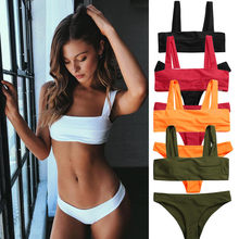 Women Split Bikini Wide Straps Padded Bandeau Female Bather Suit Neck Pullover Swimsuit Swimwear Maillot De Bain Biquini Plavky(China)