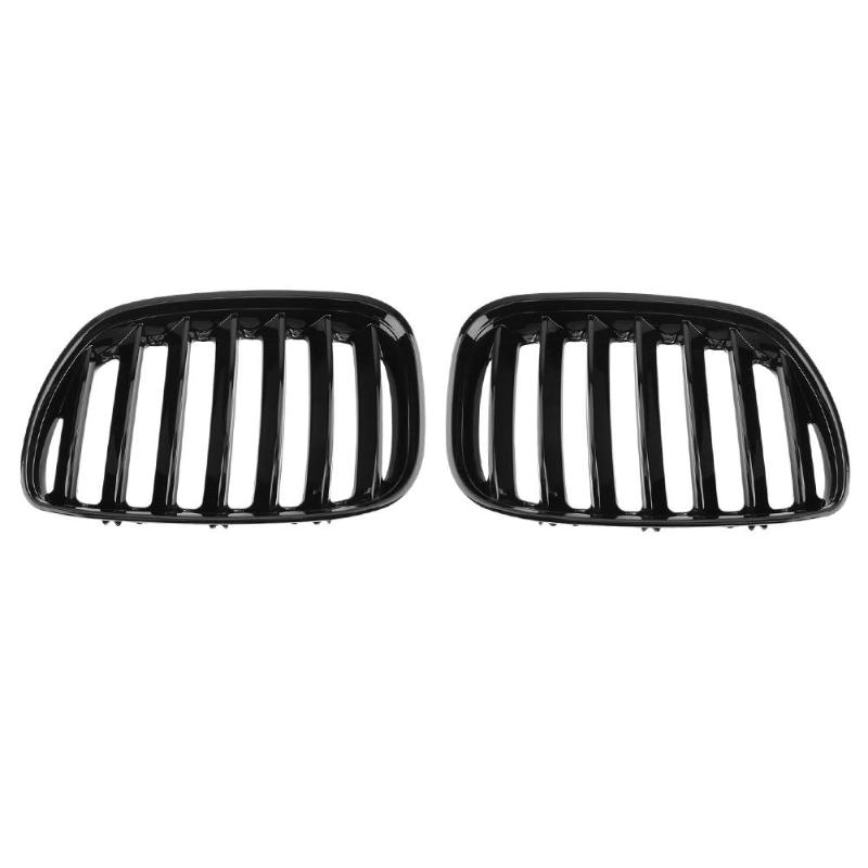 2pcs Gloss Black Car Front Bumper Kidney Grill Auto Racing Grilles for BMW X5 E53 3.0 4.4 4.6 4.8 2004-2006 Car Styling possbay chrome front hood kidney grilles for bmw x5 e53 3 0d 3 0i 4 4i 4 8is 2003 2007 facelift front bumper center grills