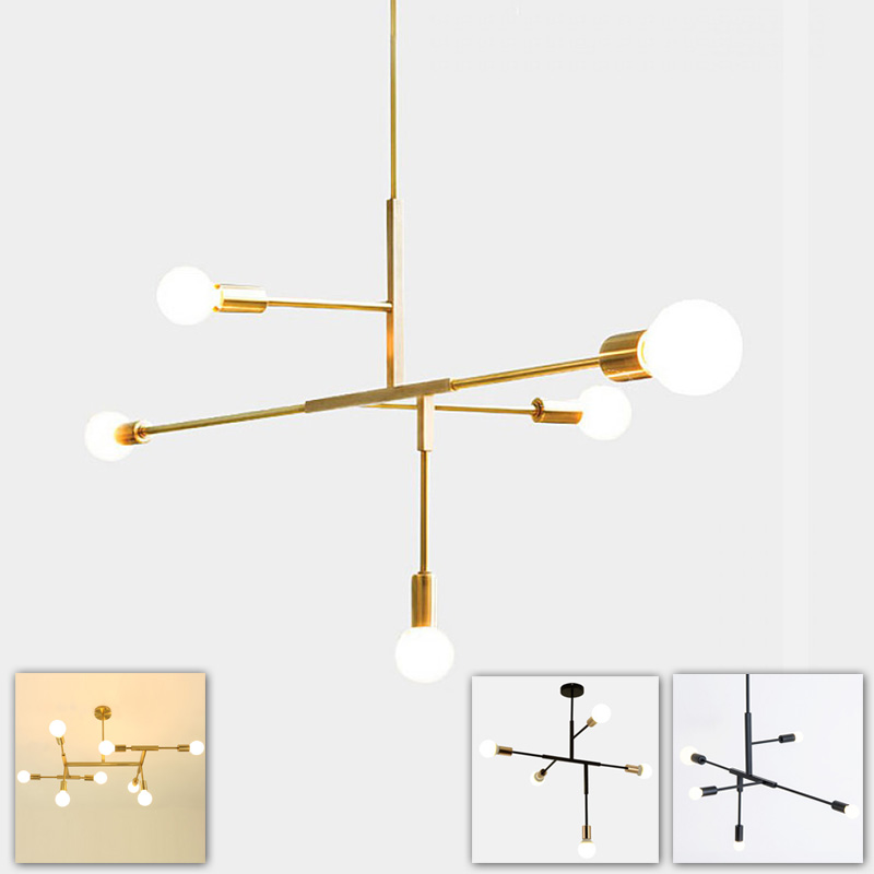 European contracted modern hanging chandelier lamp light LED living dinning room office black gold iron pipe