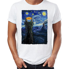 Men's T Shirt Vincent Van Gogh The Starry Night with Lord of the rings Middle Earth Sauron Tower Evil Eye Printed Tee(China)