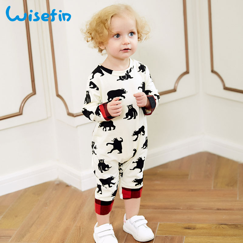 Wisefin Baby Rompers Unisex For Newborn Boy Girl Clothing Bear Print Infant Rompers Fashion Long Sleeve Todder Girl Jumpsuits