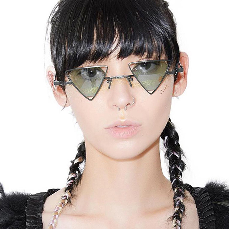 Retro Sun Glasses Steappunk Weird Sunglasses Fashion Triangular Hollow Eyewear Personality Metal Glasses hot new trends 2018
