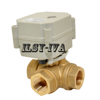 DN20 DC24V motorized ball valve,3 way horizontal type electric valve