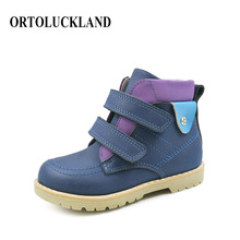 New arrival high quality nubuck leather ankle boot shoes blue orthopedic footwear for kids boys