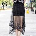 Lace Girl Летний Стиль 2017 Новая Мода Женщины Сексуальное Отвесное тюль Юбки Мода Длинные Кружева Крючком Юбка Тюль Черный Белый юбки