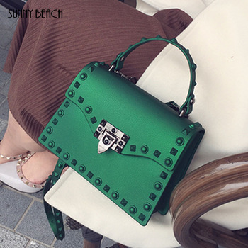 SUNNY BEACH Brand Luxury Rivets Handbags Women Bag Matte Jelly Bag Tote Bag Designer Purse Bolsa Female Messenger Bag tote bag