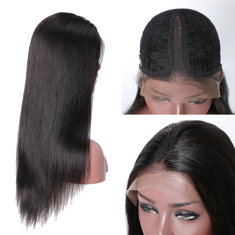 T Part Lace Front Human Hair Wigs For Black Women Peruvian Remy Hair Lace Front Wig With Baby Hair 150%Density RUIYU StraightWig