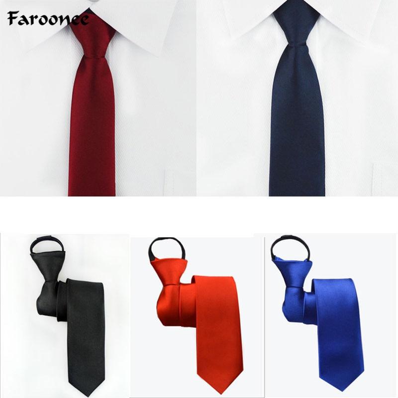 Pre-tied Neck Tie Mens Skinny Zipper Ties Red Black Blue Solid Color Jacquard Slim Narrow Bridegroom Party Dress Necktie AS1648