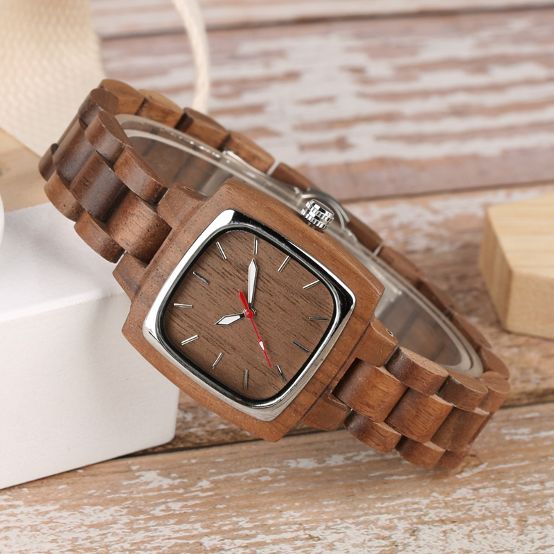 Retro Wood Women Watch Unique Square Circle Dial Design Full Wooden Bracelet Woman Ladies Clock Quartz Wristwatch dames horloges 2019 2020 2022 (4)