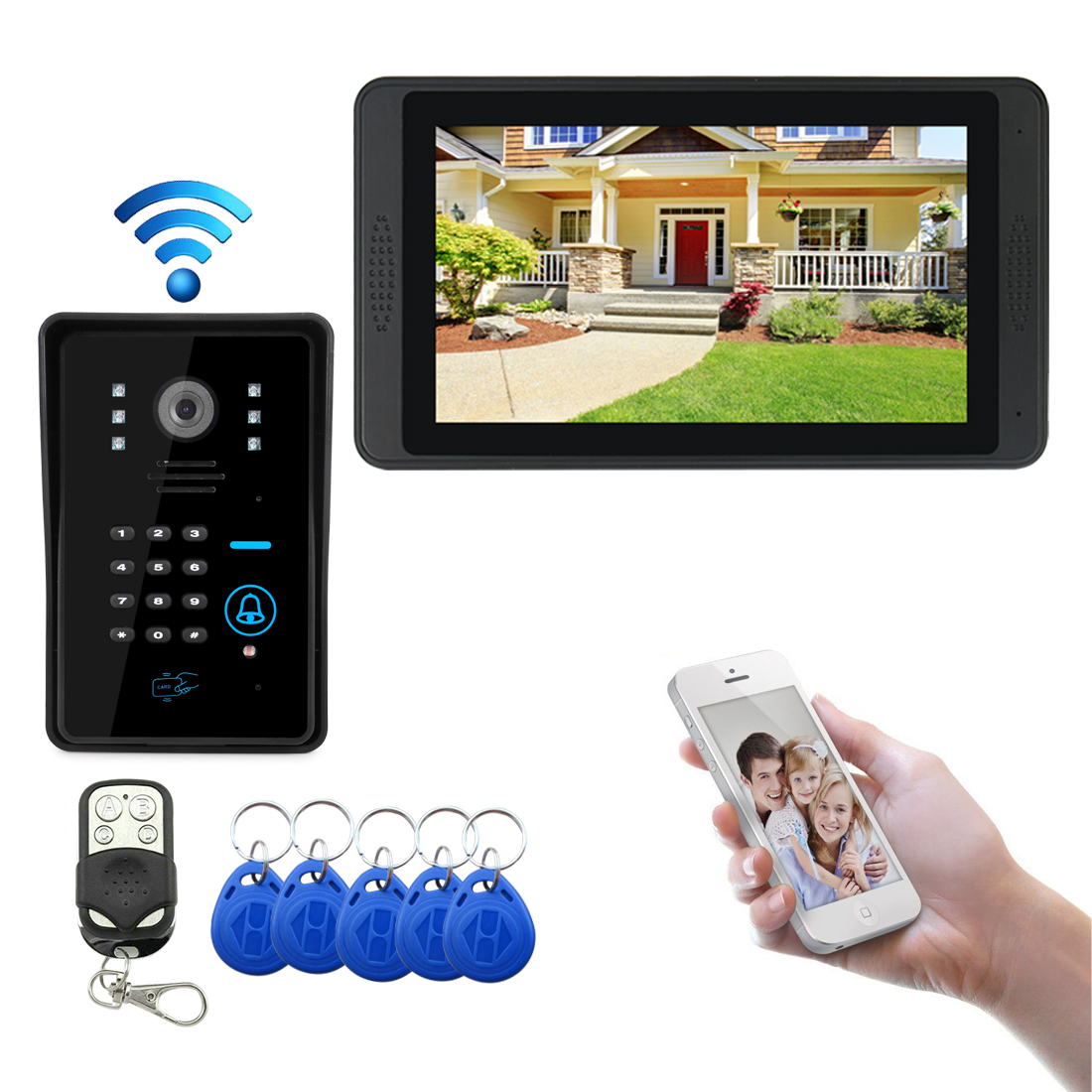 Wifi Camera Video Door Phone Doorbell IP Camera Support 3G/4G IOS Android For IPad Smart Phone Tablet Control Alarm System Kit