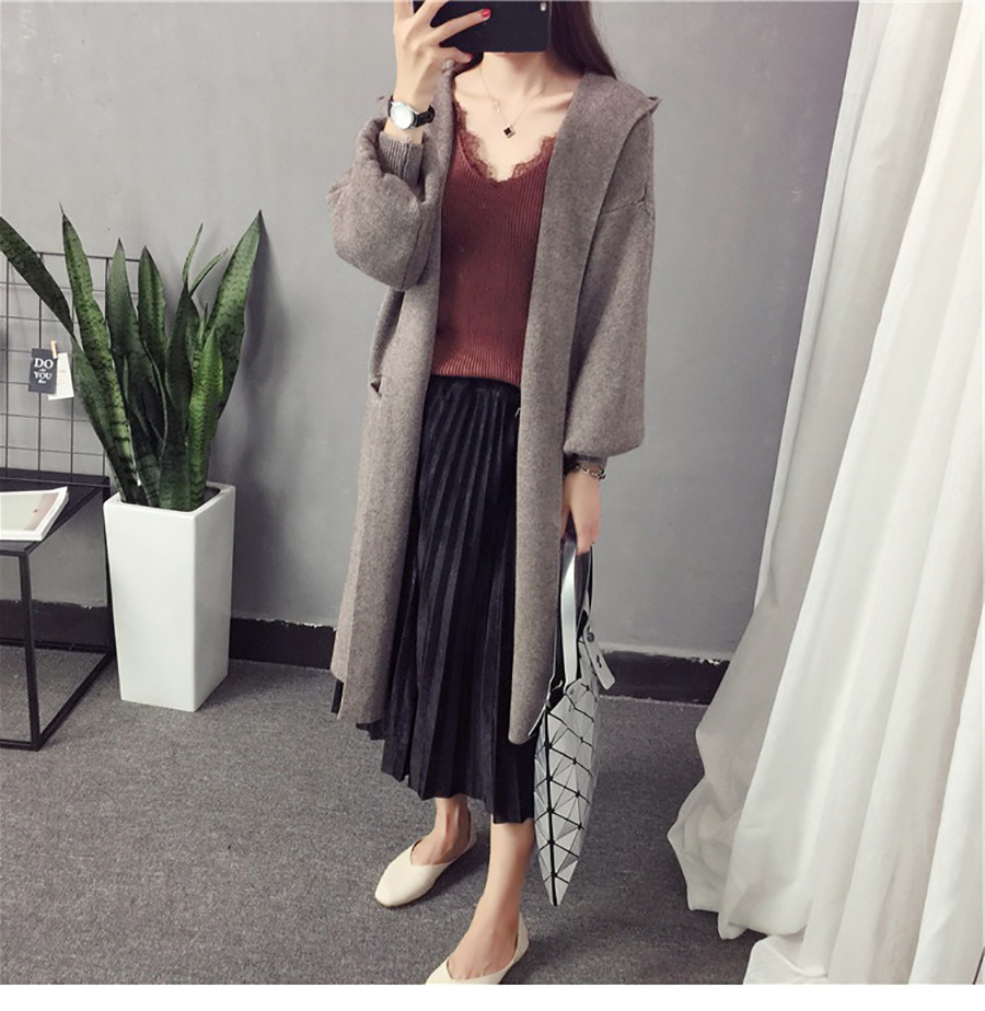 Autumn Winter Women Long Cardigans Hooded Sweaters Casual Knitted Outwear Puff Sleeves for Fashion Girls Female Warm Clothing (6)