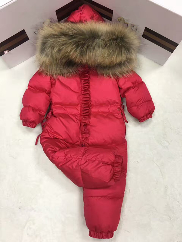 2017 Winter baby girl down coat Baby clothes print outerwear Fur Hooded children's Snowsuit down coats Child jumpsuit romper