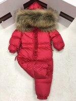 2018 зимнее пуховое пальто для маленьких девочек, одежда для малышей, верхняя одежда с принтом, детский зимний комбинезон с меховым капюшоном,