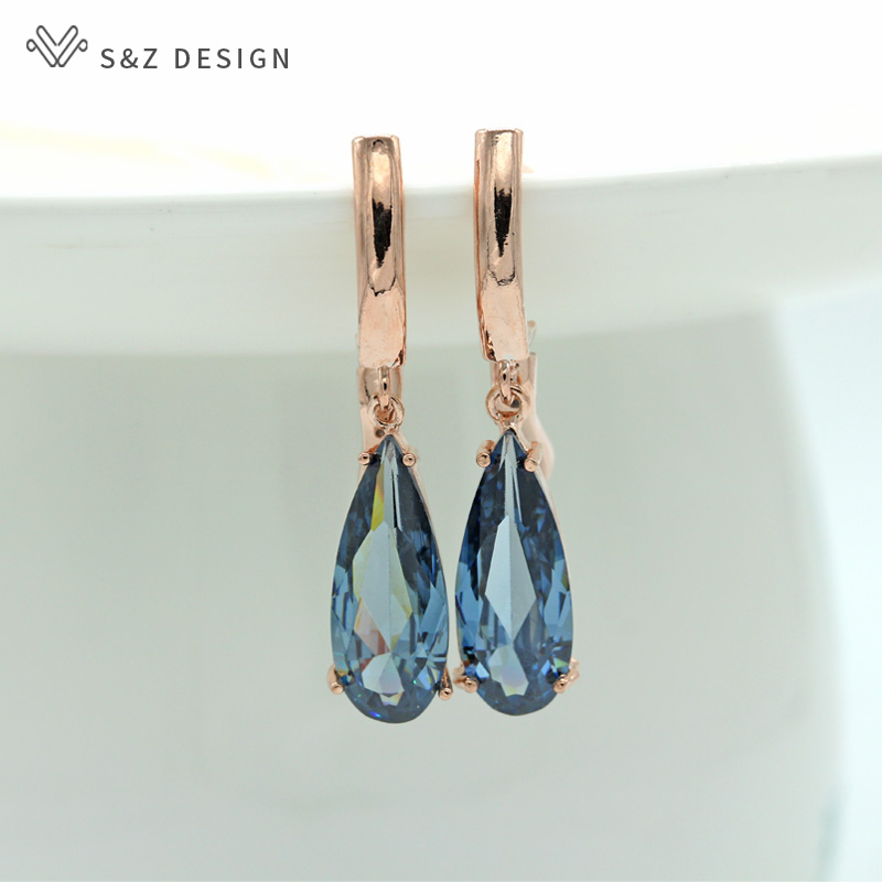 S&Z 10 Color Long Water Drop Cubic Zirconia Earring For Women Korean Fine Wedding Simple Fashion Party Jewelry