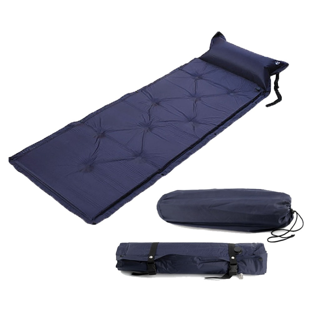 2019 Self Inflating Camping Roll Mat Sleeping Bed Inflatable Pillow Air Mattress Bag Camping Pad Picnic Beach Mat Sand Mat