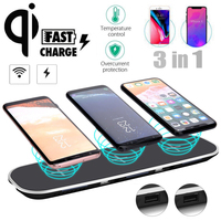 Alientech 3in1 12V 3A Qi Wireless Fast Charger Stand Dock Pad + 2 USB Charging Ports For iPhone X 8 Plus Samsung Note 8 5 S8 S7