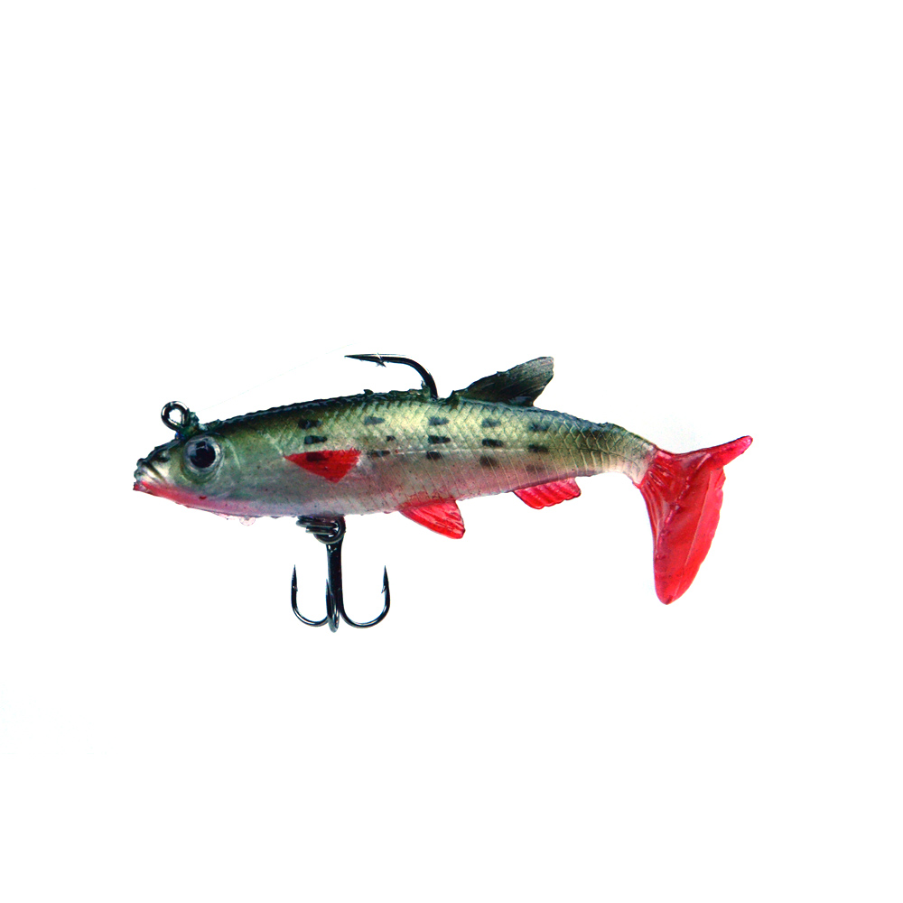 Soft bait with 2 hooks and t tail for Bass fishing hooks