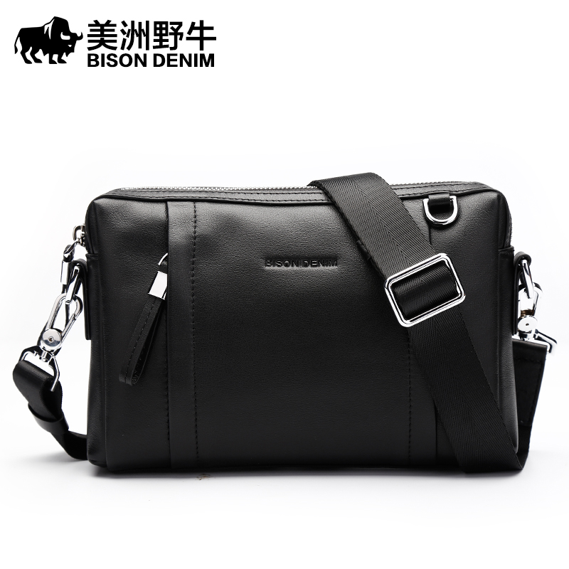 BISON DENIM Brand Handbags Men Leather Genuine Clutch Bag Large Capacity Purse Cowhide Wallet Men's Crossbody Bag Free Shipping