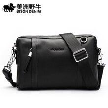 BISON DENIM Brand Handbags Men Leather Genuine Clutch Bag Large Capacity Purse Cowhide Wallet Men's Crossbody Bag Free Shipping
