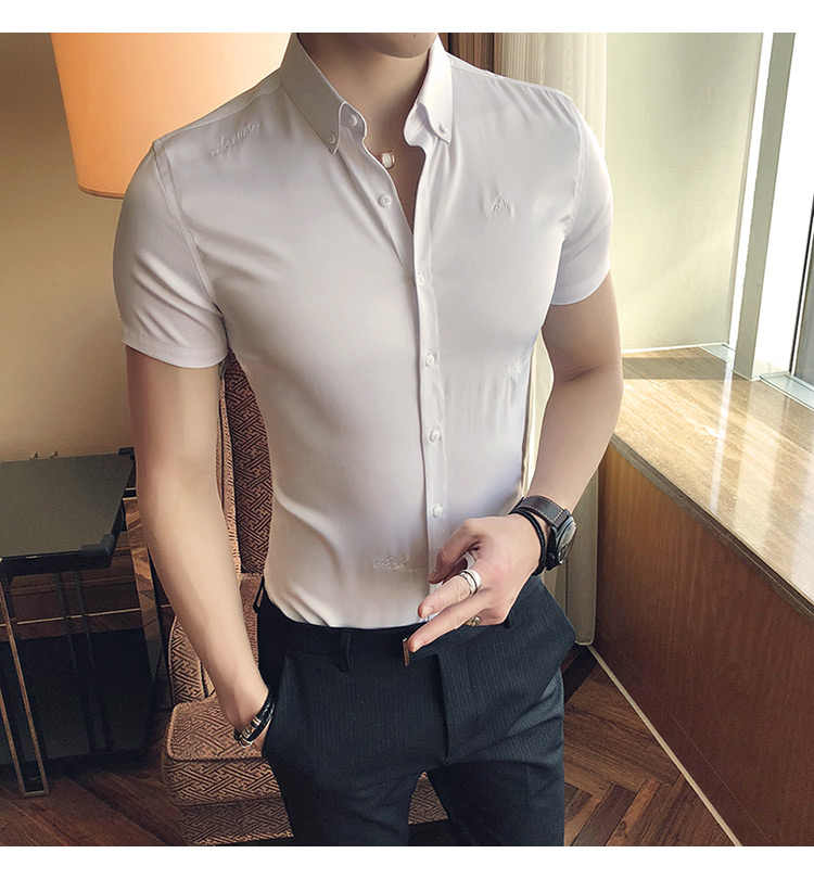 Krótkie rękawy 2018 letnie stałe mężczyźni biuro biznes formalne koszule fantazyjne mężczyzn koszuli ślub Tuxedo Party koszule czarny biała koszula