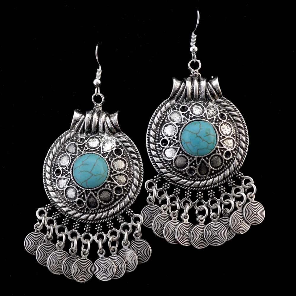 Idealway Ethnic Bohemian Coin Tassel Drop Earring Antique Silver Gold Color Green Stone Tribal Earrings Brincos Fashion Jewelry