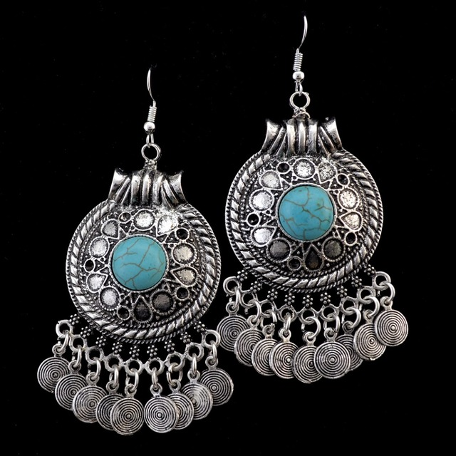 5bfc9918ce US $2.99 38% OFF|Idealway Ethnic Bohemian Coin Tassel Drop Earring Antique  Silver Gold Color Green Stone Tribal Earrings Brincos Fashion Jewelry -in  ...