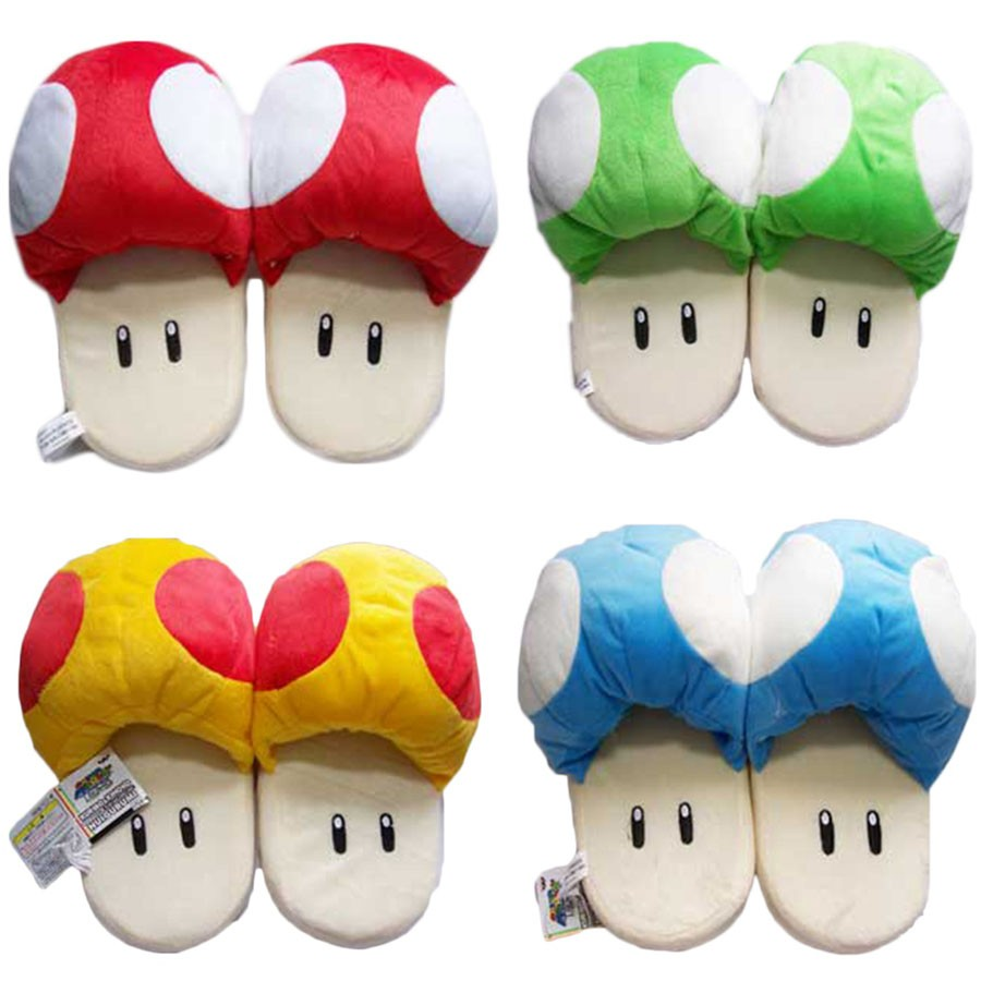 11'' 28 cm Anime Slippers Catton Game Super Mario Bros Shoes Warm Blue Red The Mushroom Soft Plush Indoor Slippers Stuffed Toy 9 23cm super mario bros grey brick plush toy soft stuffed doll 1pcs pack