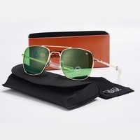 Moda aviação óculos de sol dos homens marca designer ao óculos de sol para masculino exército americano militar lente vidro óptico oculos yq194