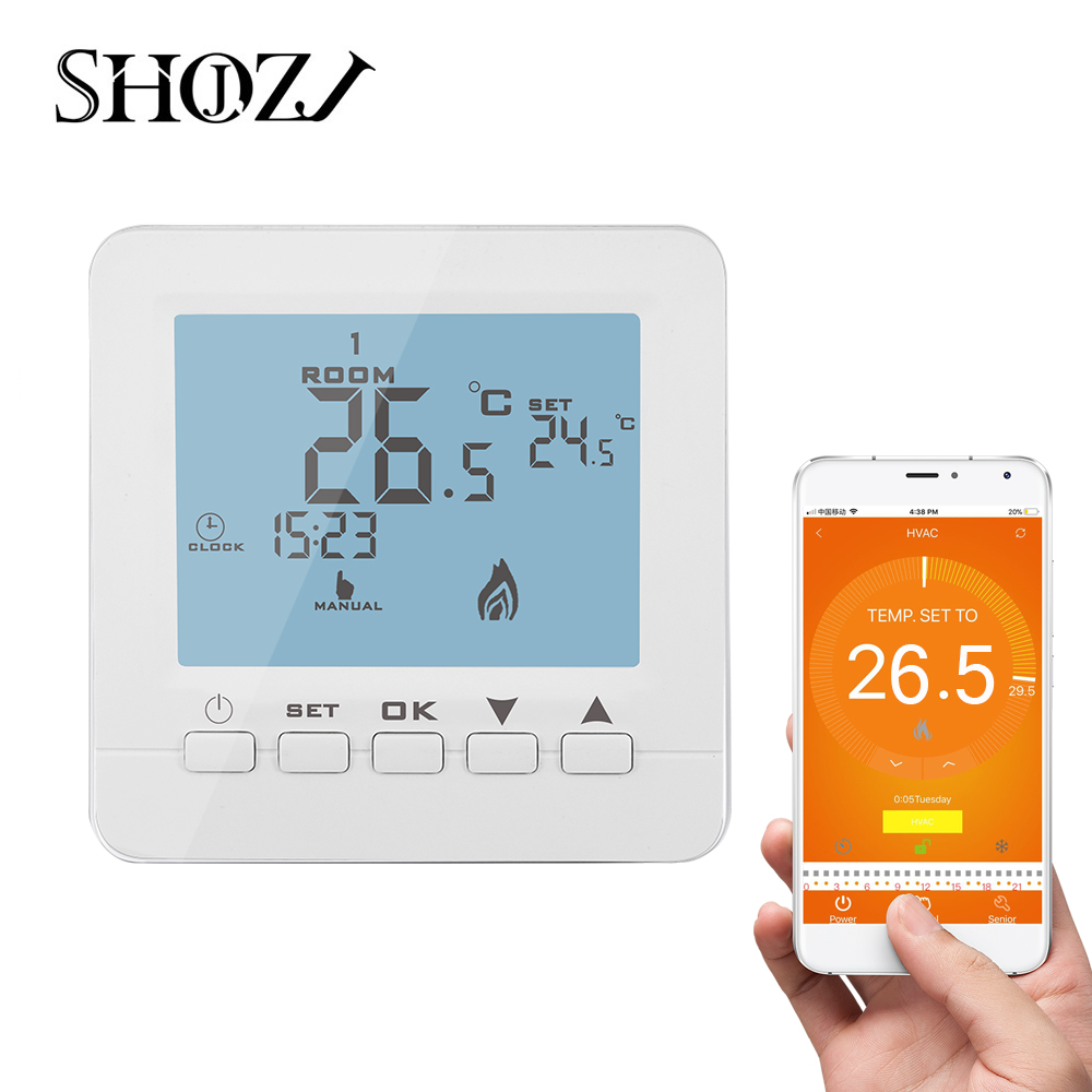 App Control Gas Boiler Temperature Controller Heating Programmable Thermostat Wall Mount