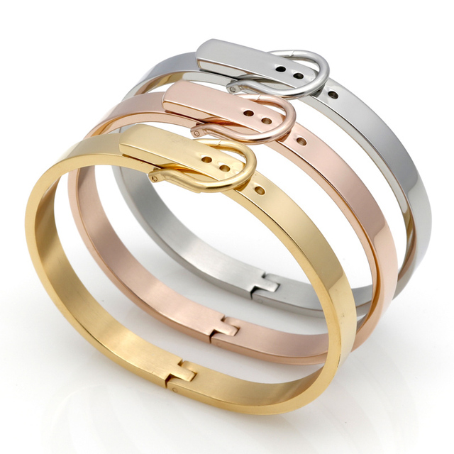 Classic Buckle Series Bracelet For Women Or Men Stainless Steel Bangle Silver /Rose Gold /18K Fashion Charm Bijoux Fine Jewelry