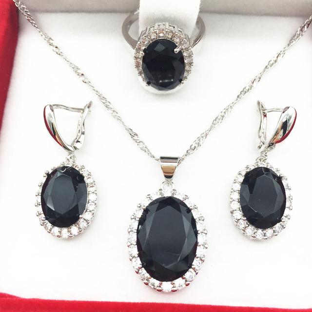 2016 nueva negro granate cristal 925 plata de la joyería para mujeres pendientes / collar / colgante tamaño del anillo 6 7 8 9 envío gratis