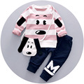 2 Unids Establece Chicos Ropa Trajes de Bebé del Resorte del Otoño ropa Perros Encantadores T-shirts + Pants de Los Muchachos de Los Niños ropa