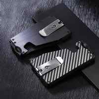 Fashion Slim Carbon Fiber Credit Card Holder With Clip Rfid Non-scan Metal Wallet Purse Male Card Storage Case